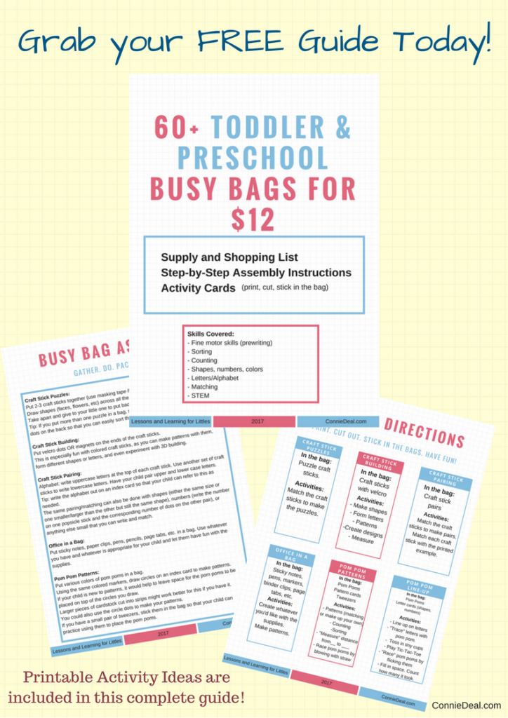 FREE Printable with directions for how to make over 60 activities using $12 of items from a dollar store. Busy bags for toddlers. Road trip and airplane activities for 1-4 year olds. Toddler activities for the plane. Traveling with toddlers and traveling with preschoolers