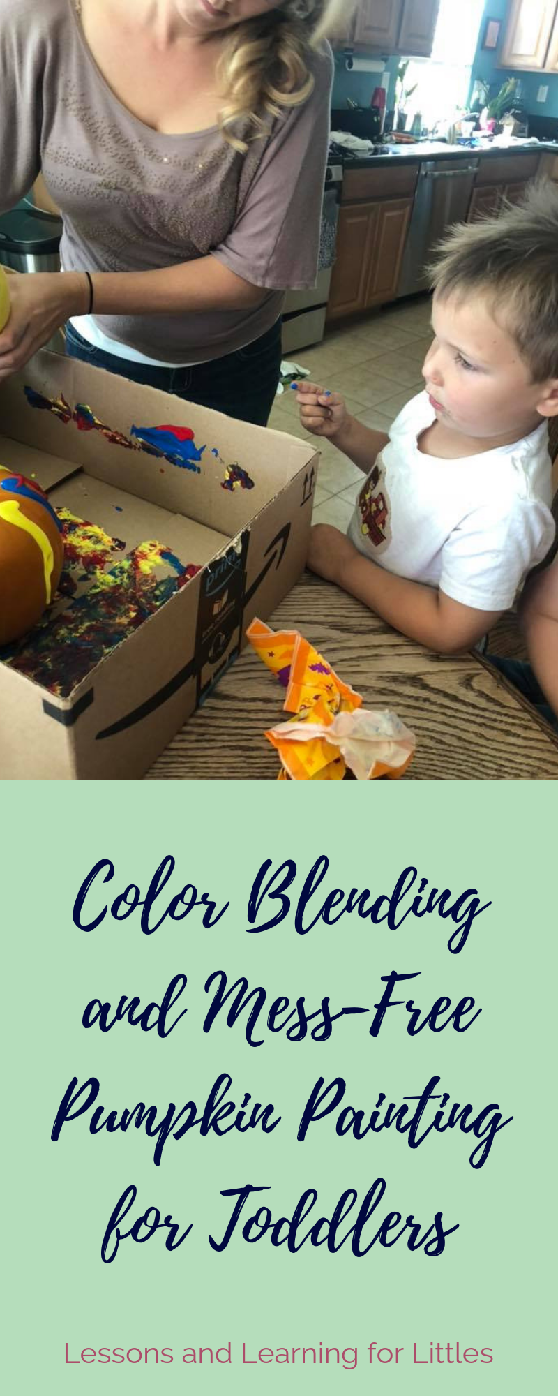 Mess-free pumpkin painting activity for toddlers. Click through to learn more about this quick and easy way to practice colors while #paintingpumpkins from Lessons and Learning for Littles.