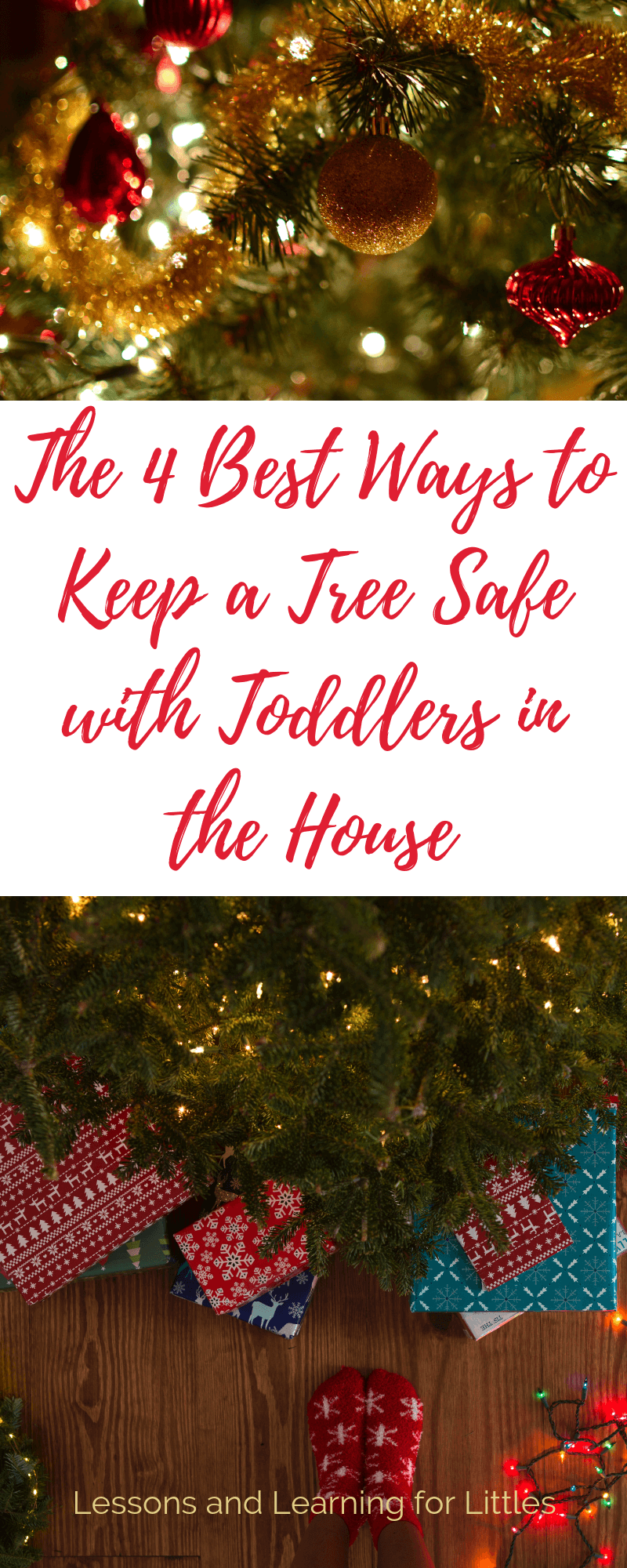 How to decorate a Christmas tree with #toddlers and #pets in the house and keep it safe all season long. #ChristmasTree #Christmas2018 #Toddlers #Motherhood